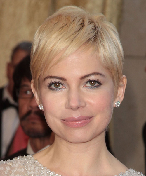 Michelle Williams Short Straight Casual  Pixie  Hairstyle with Side Swept Bangs  - Light Blonde Hair Color
