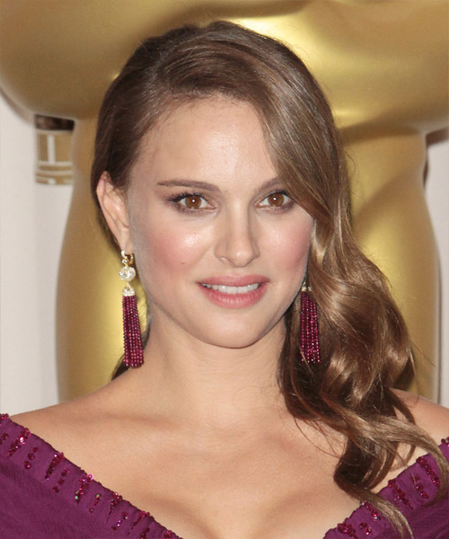 Natalie Portman Long Wavy Formal    Hairstyle   - Medium Caramel Brunette Hair Color