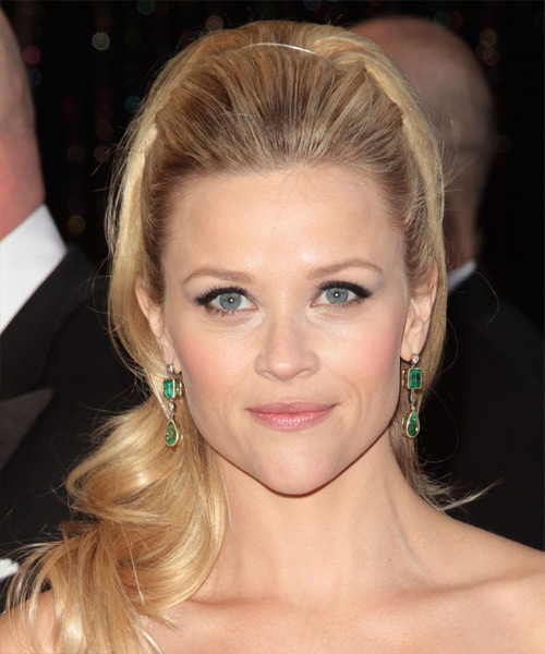 Reese Witherspoon  Long Curly Formal   Half Up Hairstyle   - Light Blonde and  Brunette Two-Tone Hair Color