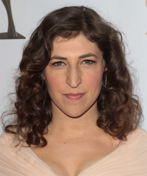 Mayim Bialik Medium Curly    Brunette Bob  Haircut