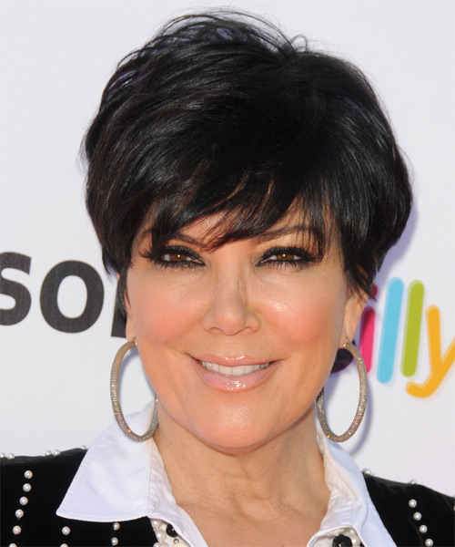 Kris Jenner Short Straight Casual  Pixie  Hairstyle   - Black  Hair Color