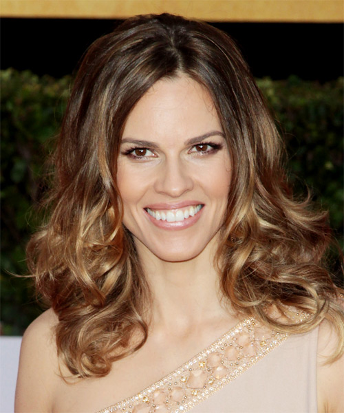 Hilary Swank Medium Wavy Casual    Hairstyle   - Light Brunette Hair Color