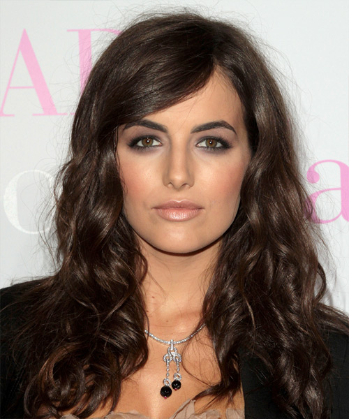 Camilla Belle Long Wavy   Dark Brunette   Hairstyle with Side Swept Bangs