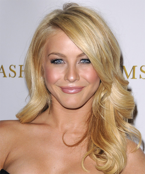 Julianne Hough Long Wavy   Light Blonde   Hairstyle with Side Swept Bangs