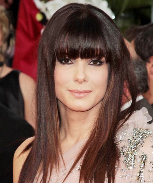 Sandra Bullock Long Straight Casual    Hairstyle with Blunt Cut Bangs  -  Burgundy Brunette Hair Color