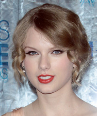 Taylor Swift  Long Curly Formal   Updo Hairstyle   - Dark Strawberry Blonde Hair Color