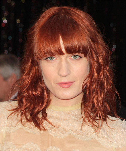 Florence Welch Medium Wavy Red Hairstyle