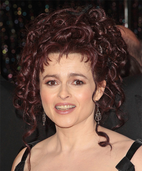 Helena Bonham Carter  Long Curly Formal   Updo Hairstyle   - Dark Red Hair Color