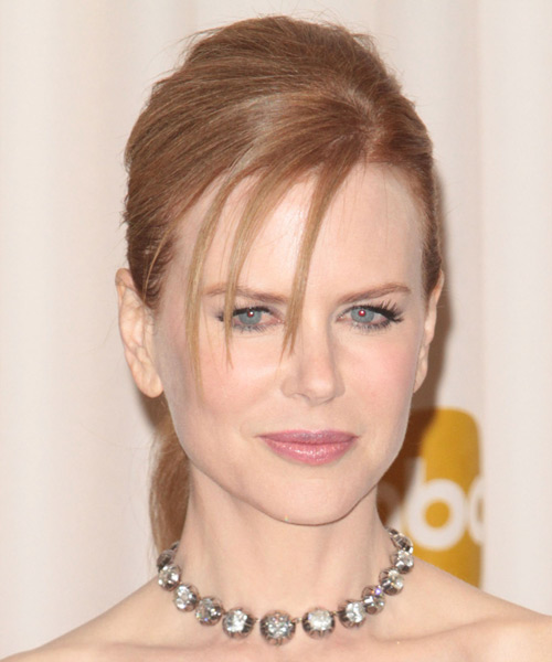 Nicole Kidman Updo Long Straight Formal  Updo Hairstyle   - Light Red