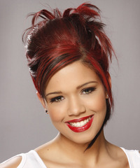 Long Straight Formal   Updo Hairstyle with Side Swept Bangs  -  Red Hair Color with Black Highlights