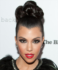 Kourtney Kardashian  Long Curly Formal   Updo Hairstyle   - Black  Hair Color