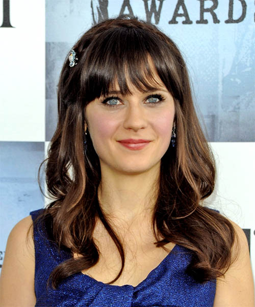 Zooey Deschanel Long Wavy Casual   Hairstyle with Blunt Cut Bangs