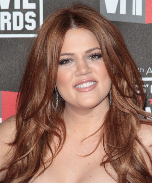 Khloe Kardashian Long Straight Casual   Hairstyle   - Medium Brunette (Auburn)
