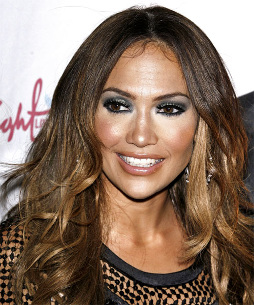 Jennifer Lopez Long Wavy   Dark Brunette   Hairstyle   with Dark Blonde Highlights