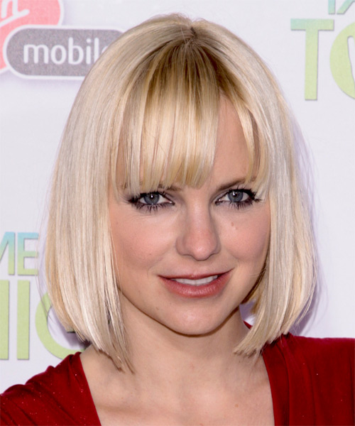 Anna Faris Medium Straight Formal Bob  Hairstyle with Blunt Cut Bangs  - Light Blonde (Strawberry)