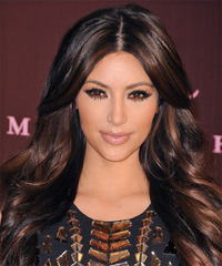 Kim Kardashian Long Wavy Formal    Hairstyle   - Dark Auburn Brunette Hair Color