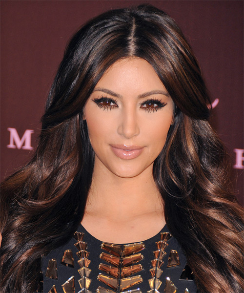 Kim Kardashian Long Wavy Formal Hairstyle Dark Auburn Brunette