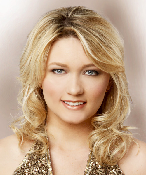 Medium Wavy Formal    Hairstyle   -  Golden Blonde Hair Color with Light Blonde Highlights