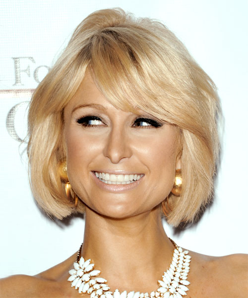 Paris Hilton Medium Straight Formal Bob  Hairstyle with Side Swept Bangs  (Honey)