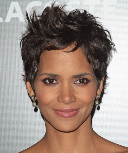 Halle Berry Short Straight Casual    Hairstyle   - Dark Chestnut Brunette Hair Color