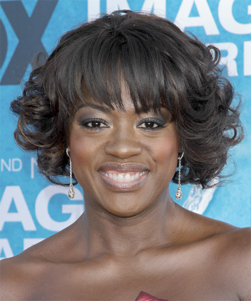 Viola Davis Medium Curly Formal    Hairstyle with Layered Bangs  - Black  Hair Color