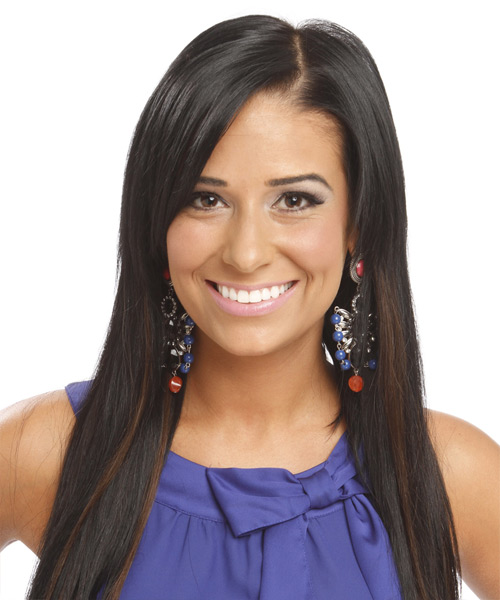 Long Straight Casual    Hairstyle   - Black  Hair Color