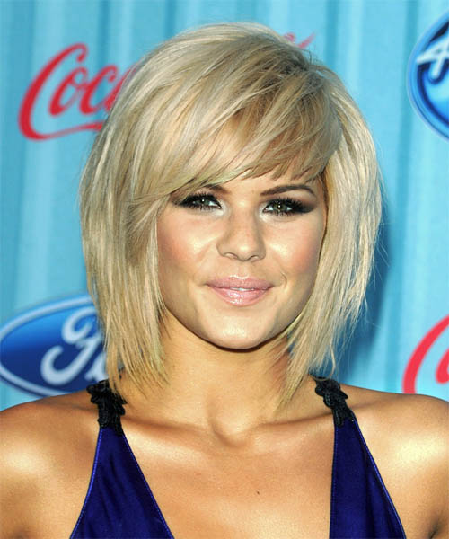 Kimberly Caldwell Medium Straight Casual    Hairstyle with Side Swept Bangs  - Light Blonde Hair Color