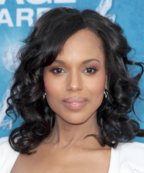 Kerry Washington Medium Curly Casual    Hairstyle   - Black  Hair Color