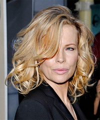 Kim Basinger Medium Wavy Formal    Hairstyle   - Light Golden Blonde Hair Color with Light Blonde Highlights