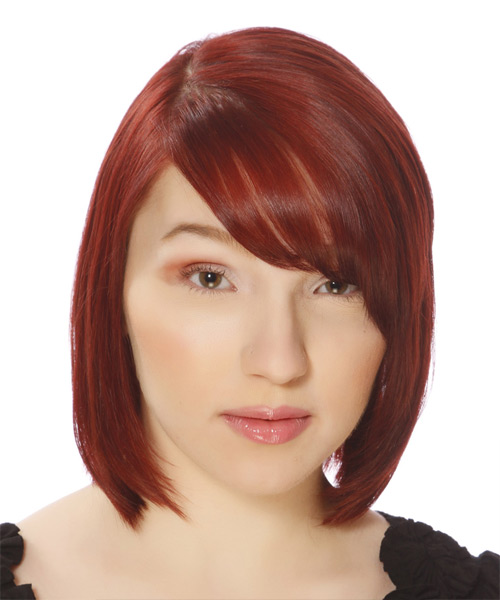 Medium Straight Bob Hairstyle with side hair part and side swept bangs