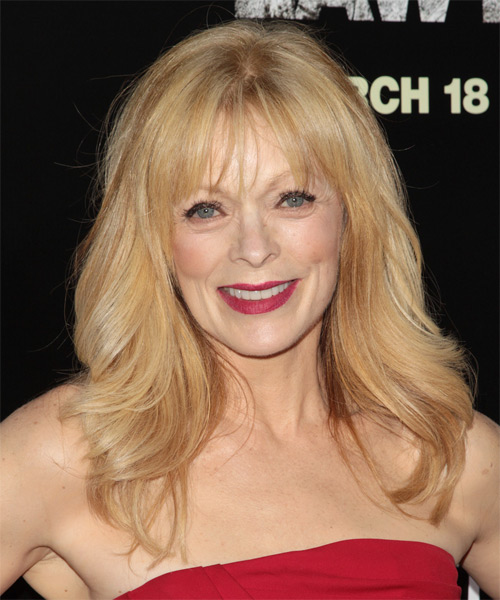 Frances Fisher Long Straight Casual   Hairstyle with Layered Bangs  - Medium Blonde (Golden)