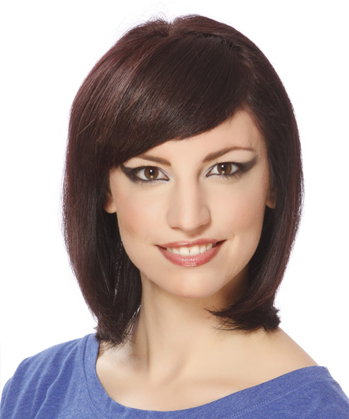 Medium Straight Formal  Bob  Hairstyle with Side Swept Bangs  -  Plum Brunette Hair Color