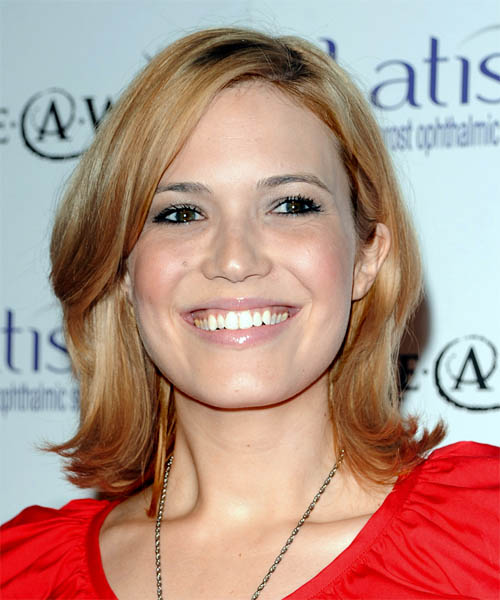 Mandy Moore Medium Straight Casual   Hairstyle with Side Swept Bangs  - Dark Blonde (Copper)