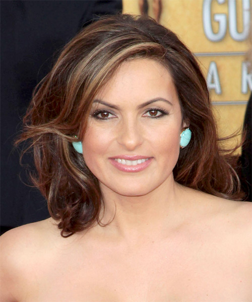 Mariska Hargitay Medium Wavy Formal    Hairstyle   -  Brunette Hair Color with  Blonde Highlights