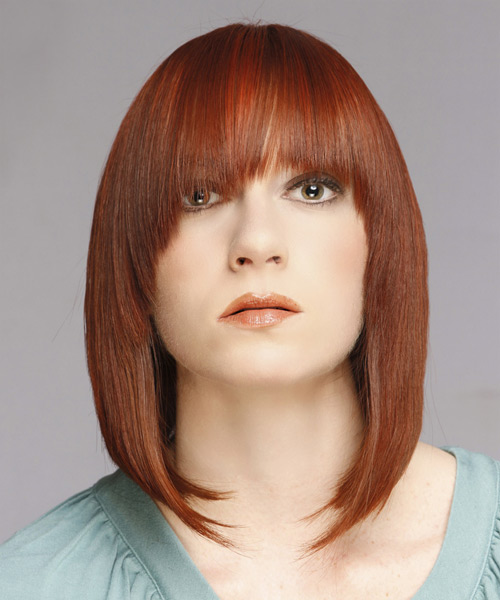 Mid-length straight hairstyle with full bangs to frame your face
