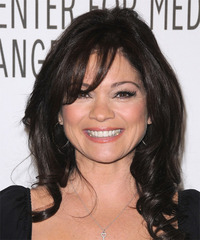 Valerie Bertinelli Long Wavy   Black    Hairstyle with Layered Bangs
