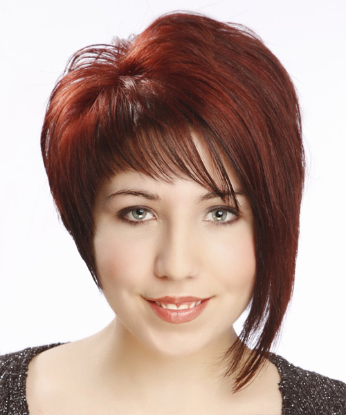 Short Straight Alternative Asymmetrical  Hairstyle with Asymmetrical Bangs  - Medium Red