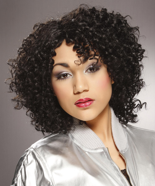 Medium Curly Casual   Hairstyle   - Black