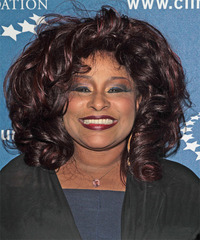 Chaka Khan Medium Wavy Formal    Hairstyle   - Dark Burgundy Red Hair Color
