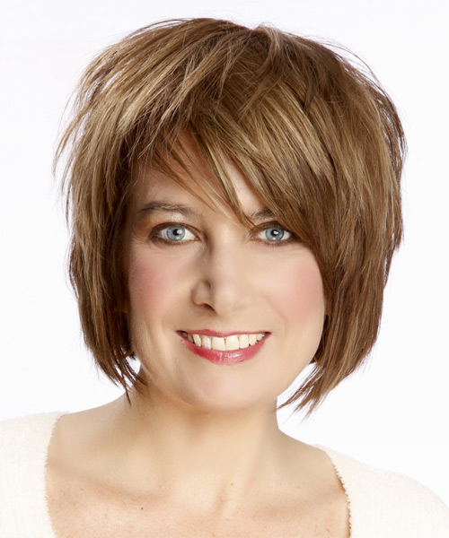 Medium Straight Casual    Hairstyle with Side Swept Bangs  - Light Caramel Brunette Hair Color