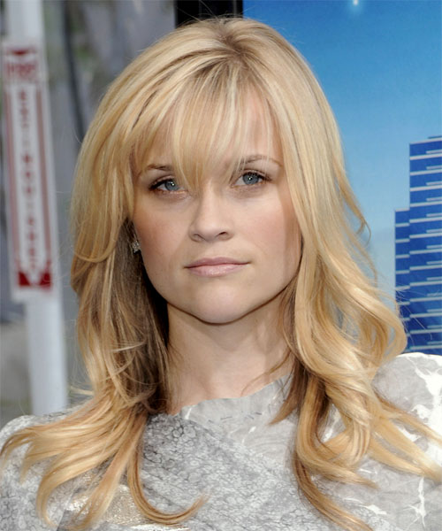 Reese Witherspoon Long Wavy Casual   Hairstyle with Layered Bangs
