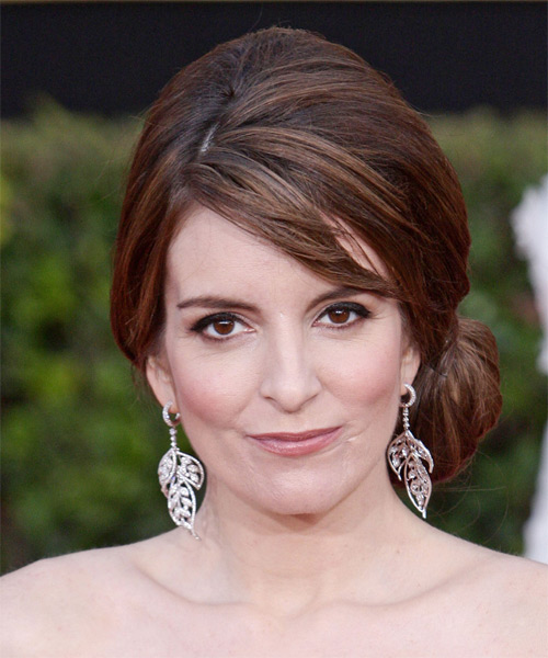 Tina Fey Long Curly Brunette Updo With Side Swept Bangs