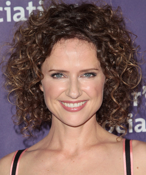 Jean Louisa Kelly Medium Curly Casual    Hairstyle   -  Brunette Hair Color