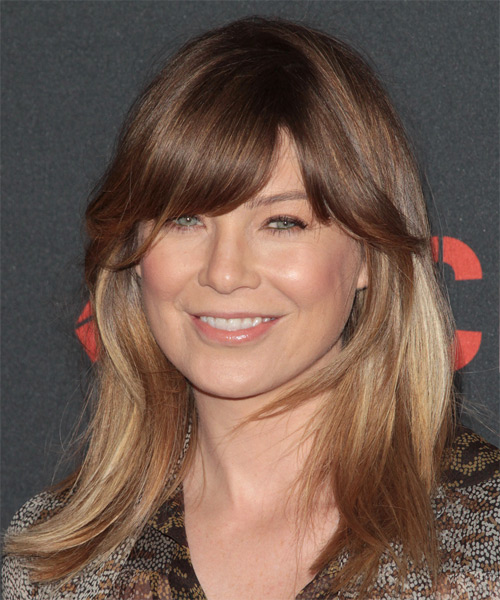 Ellen Pompeo Medium Straight Casual   Hairstyle with Side Swept Bangs  - Medium Brunette (Chocolate)