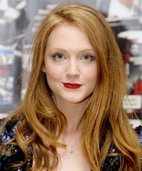 Olivia Hallinan Long Straight Casual   Hairstyle with Asymmetrical Bangs  - Light Red (Copper)