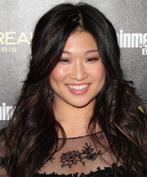 Jenna Ushkowitz Long Wavy Casual   Hairstyle   - Black