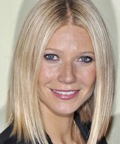 Gwyneth Paltrow Medium Straight   Light Blonde Bob  Haircut