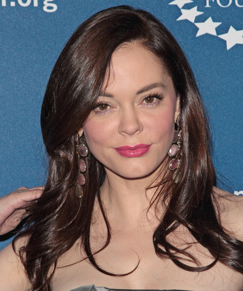 Rose McGowan Long Straight Formal   Hairstyle   - Medium Brunette (Chocolate)