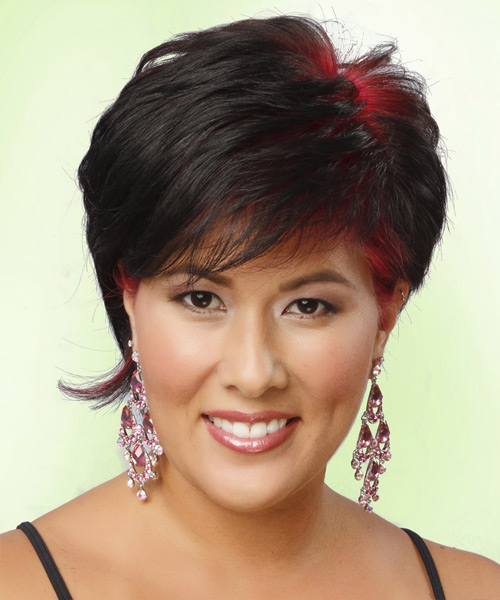 Short Straight Casual    Hairstyle   - Black Bright  Hair Color