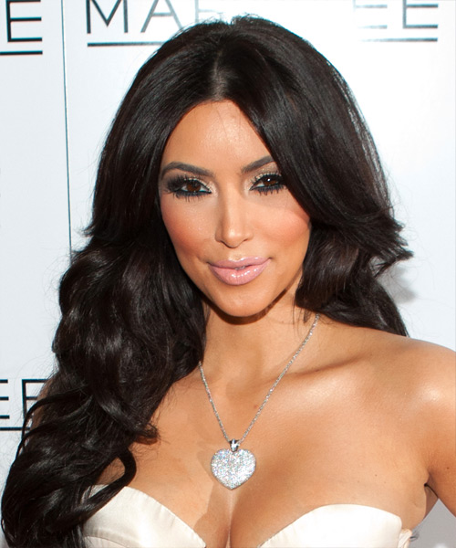 Kim Kardashian Long Wavy Formal Hairstyle Dark Brunette Hair Color